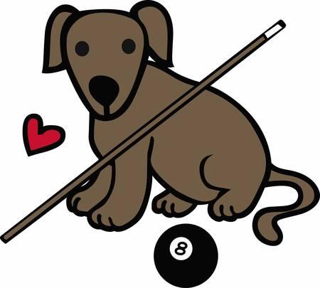 Les joueurs de billard vont adorer ce chien de chasse. Illustration