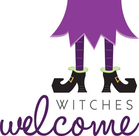 crone: Witch legs will make a great Halloween decoration. Illustration