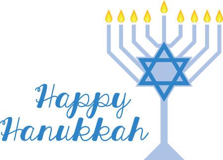 Use this beautiful menorah on a festive Hanukkah napkin. Ilustração