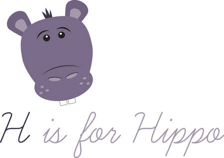 hooray: This cute hippo is perfect for a nursery or classroom. Illustration