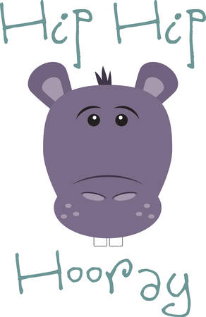 This cute hippo is perfect for a nursery or classroom. Иллюстрация