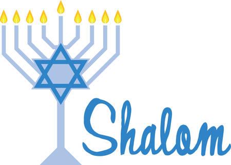 Use this beautiful menorah on a festive Hanukkah napkin. Ilustrace