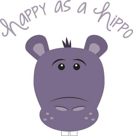 Cet hippopotame mignon est parfait pour une pépinière ou en classe. Banque d'images - 41367477