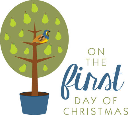 Partridge in a Pear Tree is a perfect gift and a delightful decoration for your home to welcome your guests on Christmas. Vector