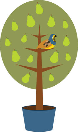 Partridge in a Pear Tree is a perfect gift and a delightful decoration for your home to welcome your guests on Christmas. Illustration
