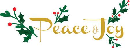 joyous: Utilice este dise�o pac�fico y alegre para la Navidad. Vectores