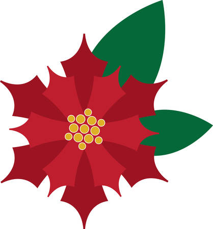 Use this poinsettia on table linens and decorations for Christmas. Illustration