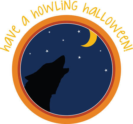 A howling wolf is a great Halloween decoration. Illustration