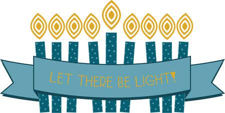 Celebrate Hanukkah with this festive menorah. Illustration