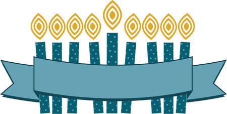 Celebrate Hanukkah with this festive menorah. Çizim