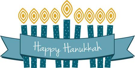 Celebrate Hanukkah with this festive menorah. Illusztráció