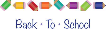 Gebruik deze potlood grens voor een schoolproject of een leraar gift. Stock Illustratie