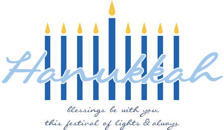 Celebrate Hanukkah with this festive menorah. Иллюстрация