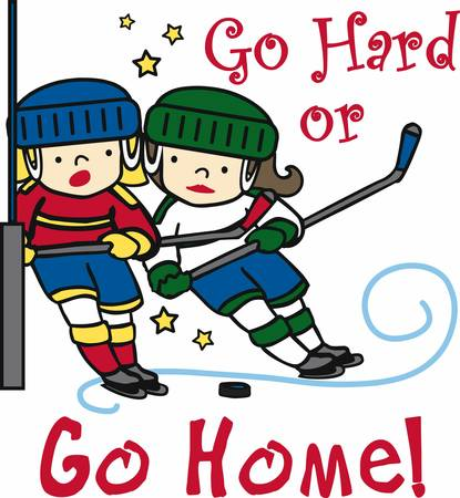 Hockey lovers will like a fun game on the ice. Ilustracja