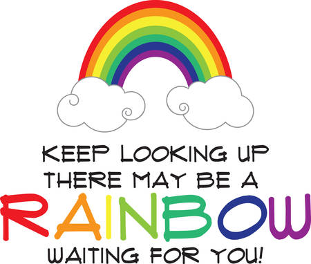 there: Use this pot of rainbow on a dress for a little girl.