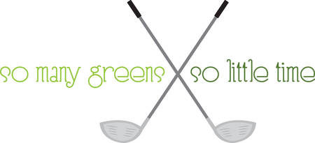 These crossed golf clubs will look great on a polo shirt. Çizim