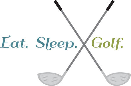 These crossed golf clubs will look great on a polo shirt. Ilustração