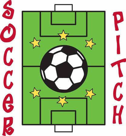 Score a goal with a soccer field design.
