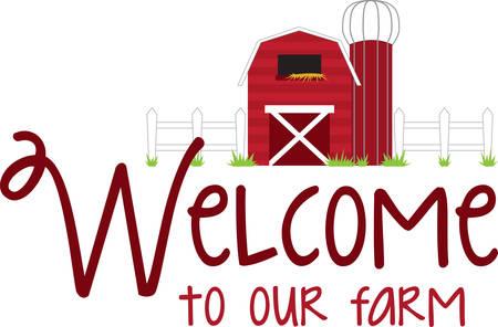 silo: Use this barn scene for your favorite little farmer. Illustration