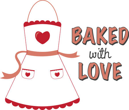 Use this apron on a Valentine gift.