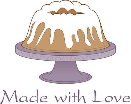 このブント ・ ケーキになりますエプロンやキッチンのエレガントなリネン。  イラスト・ベクター素材
