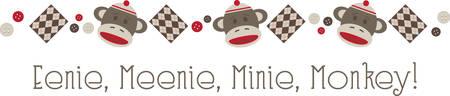 jumping monkeys: Use this adorable sock money design as a border. Illustration