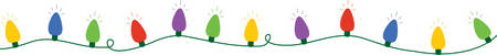 Use this string of lights for a festive Christmas border. Stock Illustratie
