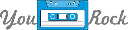 お気に入りの曲がカセット テープ移動にこのレトロなデザインに当時に戻って来たときを覚えています。  イラスト・ベクター素材