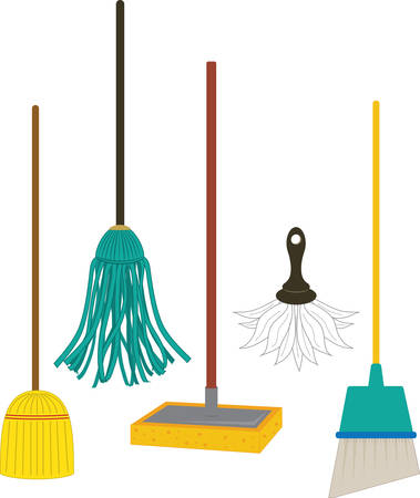 A mop such as a floor mop is a mass or bundle of coarse strings or yarn pick those designs by concord Фото со стока - 41370379