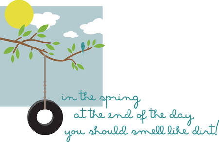 Tire swing from tree gives your garden a primitive touch Illustration