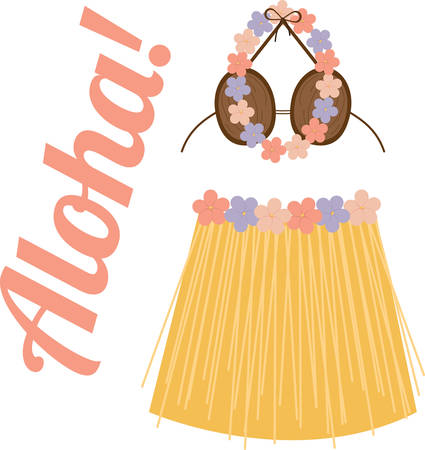 Remember your tropical vacation with this grass skirt and lei.