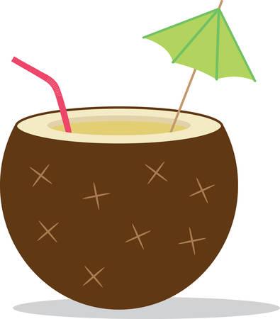 Deze kokosnootdrank zal een smakelijke aanvulling op een tropische t-shirt zijn. Stock Illustratie