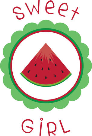 watermelon slice: Use this watermelon slice for a fun summer tee. Illustration