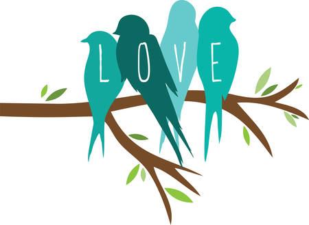 Use these love birds for a shirt or bag. Иллюстрация