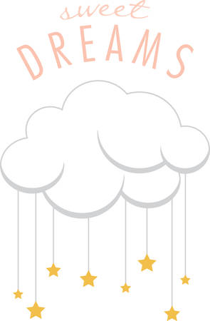 fluffy clouds: Add fluffy clouds to a nursery for a sweet bedtime. Illustration
