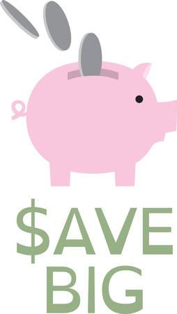 Bespaar je geld door middel van Piggy verzamelaar. Pick die ontwerp van Concord. Stock Illustratie
