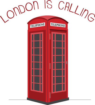 red telephone box: A visit to London would not be complete without these cute phone booths. Illustration