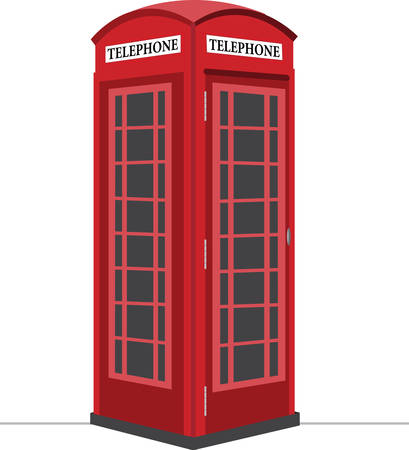 antique booth: A visit to London would not be complete without these cute phone booths. Illustration