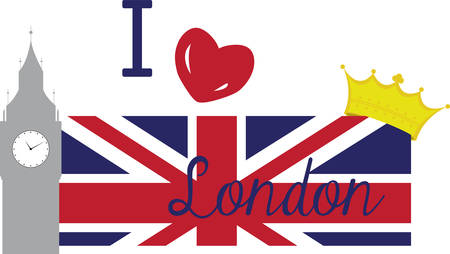 verzamelen: Collect the colorful London  flag. Pick those design by concord. Stock Illustratie