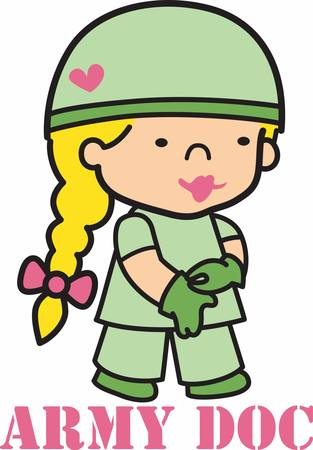 army girl: As a doctor your career will help soldier health care.Pick those design by Concord. Illustration