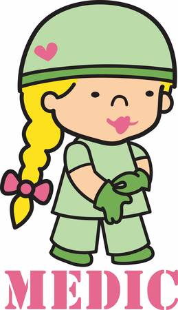military girl: As a doctor your career will help soldier health care.Pick those design by Concord. Illustration