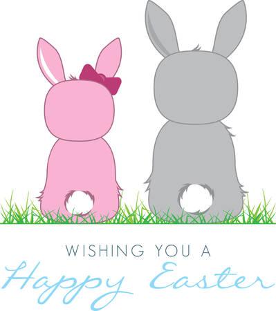 backwards: Een paar leuke kleine Paashazen zitten achteruit. Gebruik dit ontwerp voor uw decoratie van Pasen.