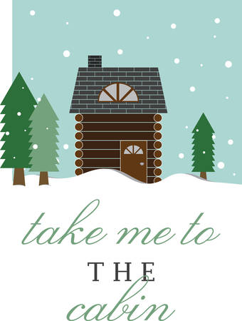 log cabin in snow: Use this wintry log cabin for a seasonal gift for a friend. Illustration