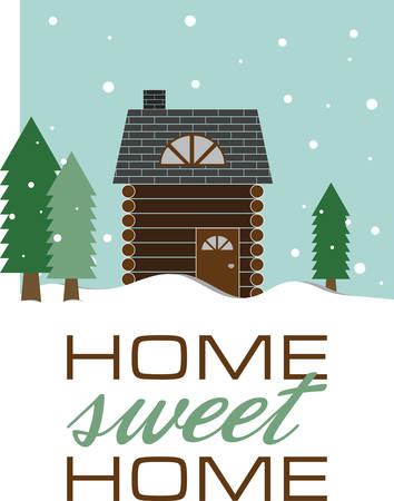 Use this wintry log cabin for a seasonal gift for a friend. Stock Illustratie