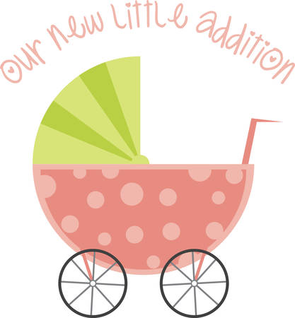 A baby carriage is a great design for a baby shower.
