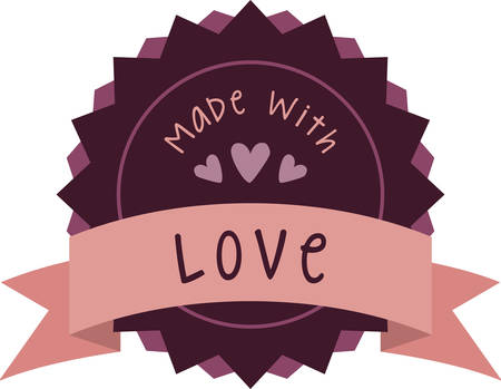 baked: Use this loving banner for a home baked gift for a friend. Illustration