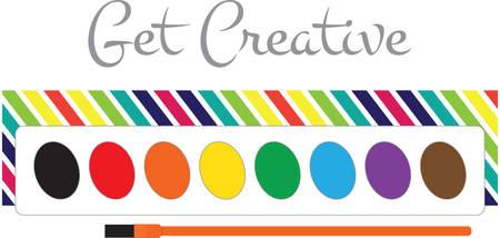 楽しい子供または大人用スモックを絵にこの水彩のパレットを使用します。