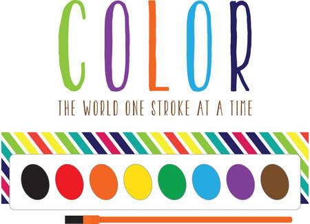 Gebruik deze aquarel palet voor een leuke schilderij kiel voor een kind of volwassene. Stock Illustratie