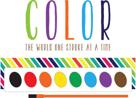 smock: Use this watercolor palette for a fun painting smock for a child or adult. Illustration