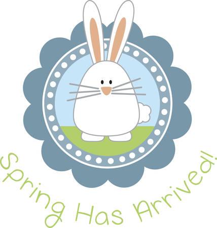 cottontail: Peque�a calcoman�a lindo conejo de Pascua para la decoraci�n de Pascua.